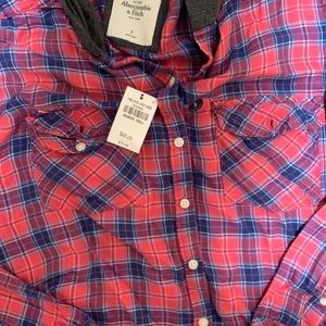 Abercrombie & Fitch Tops - Abercrombie & Fitch hooded flannel size small